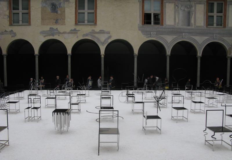 Nendo's '50 Manga chairs' installation at Facoltà Teologica dell'Italia Settentrionale (a medieval seminary)