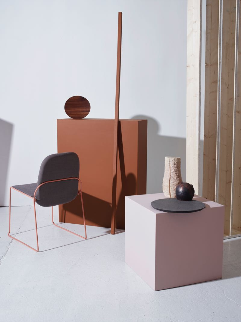 'Archie' chair by Runa Klock, timber and ceramic vessels by Elin Hedberg.