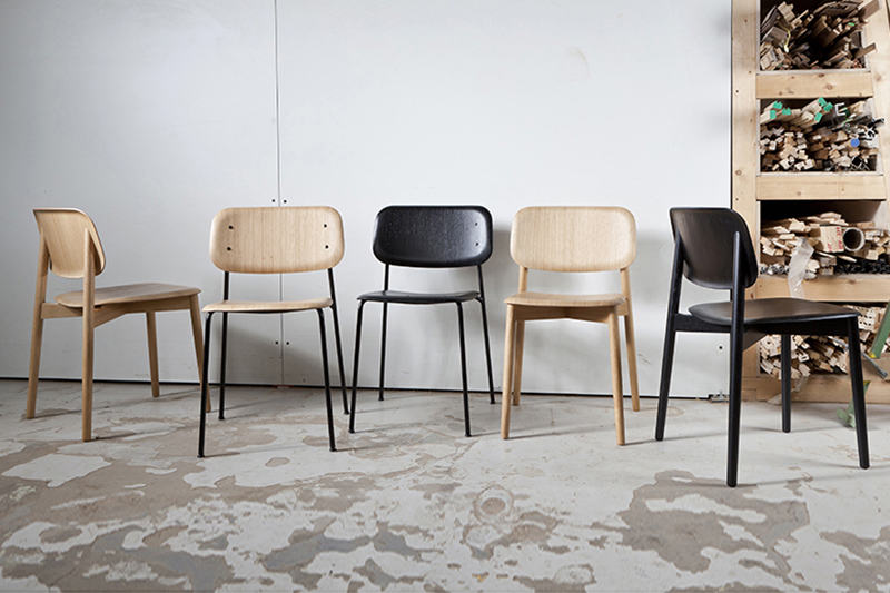 Iskos Berlin's 'Softedge' chairs for HAY - metal or wooden frames with a lightweight seat and back of moulded ply.