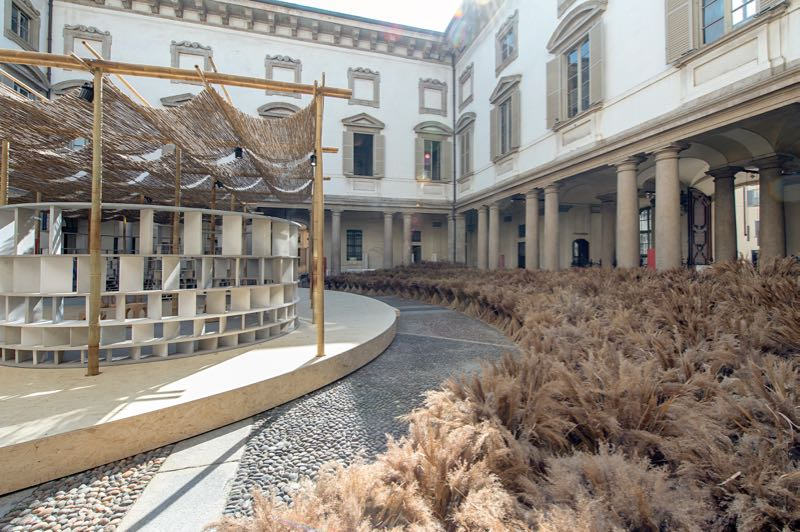 Diébédo Francis Kéré's 'Courtyard Village' at Palazzo Litta.