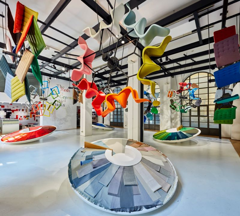 Hella Jongerius'  Colour Machine  installation at CasaVitra showcased the brand's new fabric, plastic and leather colours in an engaging way.