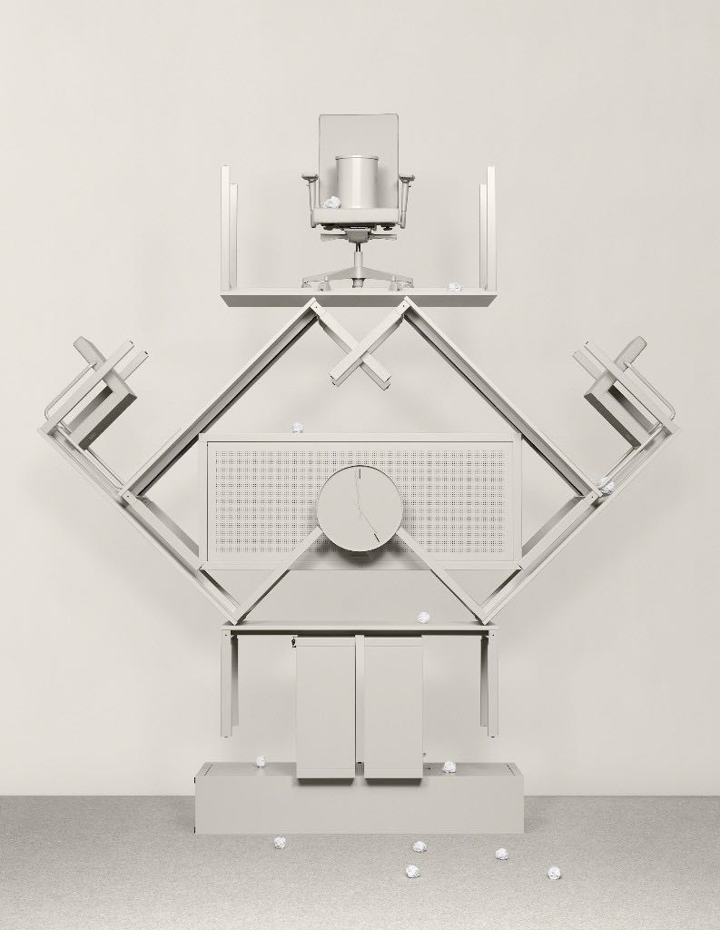 Exhibiting the monumental qualities of a Sottsass Memphis piece, this sculpture by Dutch visual artists  Lernert & Sander  for Lensvelt, worships at the altar of grey.