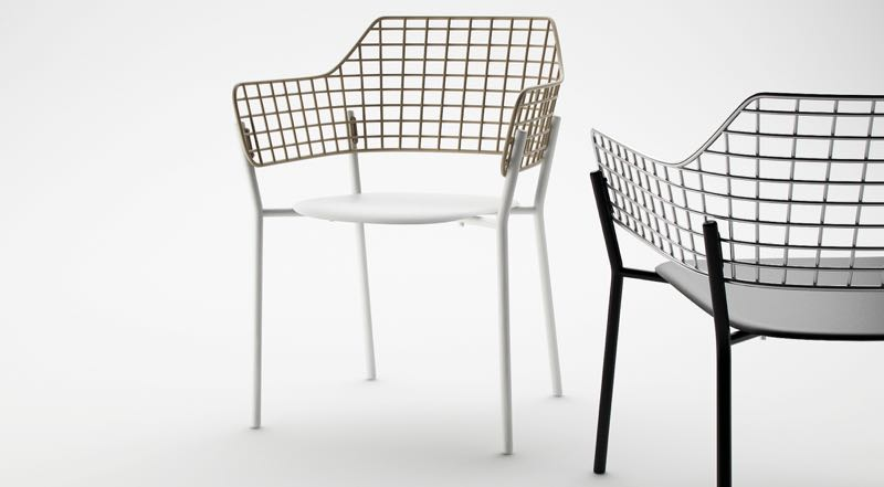 Italian outdoor company EMU launched the new 'Lyze' chair with a similar style to Harry Bertoia's famous pieces for Knoll.
