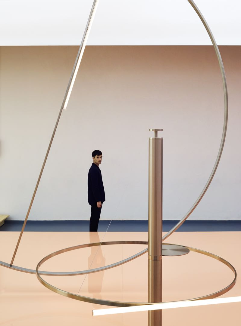 Andrea Trimarchi at the  An Encounter with Anticipation  installation designed byFormafantasma for Lexus.