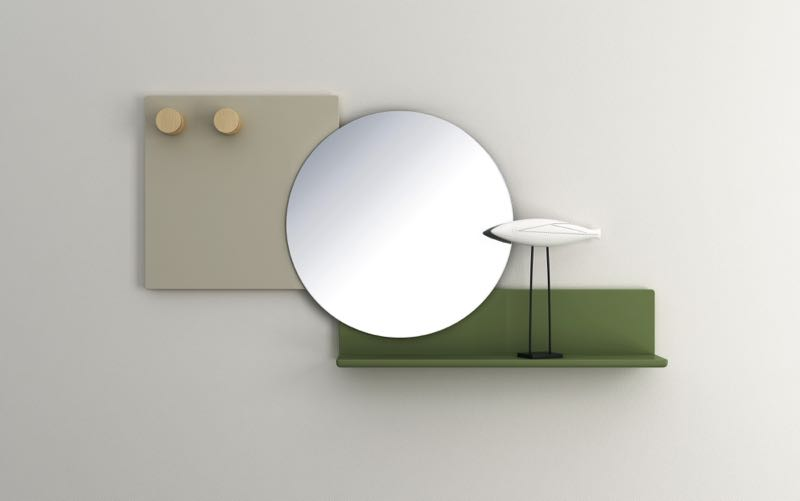 'Piers' mirror by Roberto Paoli   for Ronaldo. The wall mounted mirror and shelf comes in a range of great lacquered colours.