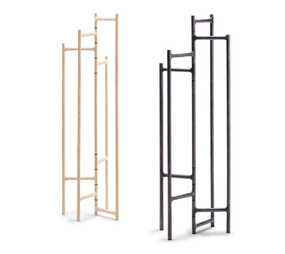 Luis Arrivillaga, a Guatemalan born designer, launched his 'Ceiba' folding valet / clothing rail for Living Divani. The design is available in natural or black stained ash.