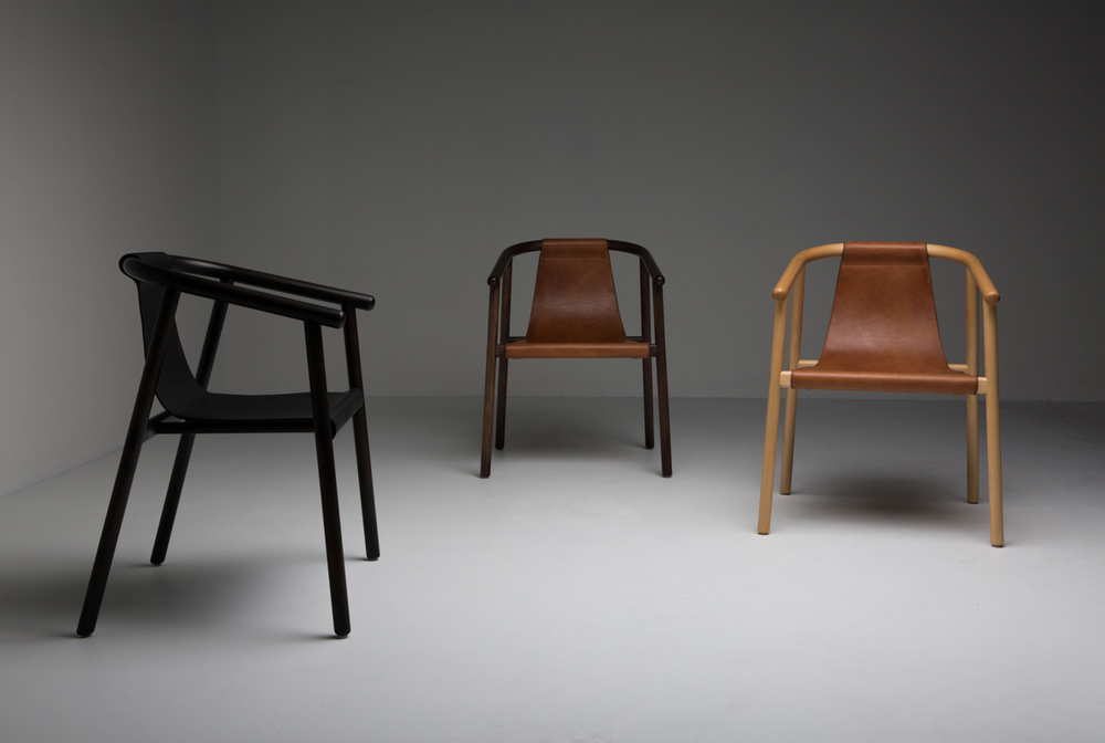 Dennis Abalos' 'Saddler' chair in steam bent celery-top pine and hand-stitched saddle leather.