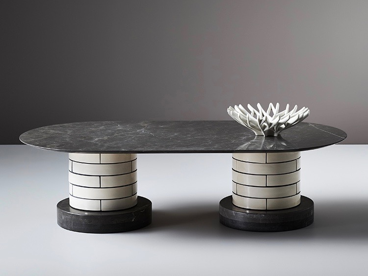 Porcelain Bear's 'Metro' table with marble base and top with drum shaped porcelain tile columns references the Paris metro.