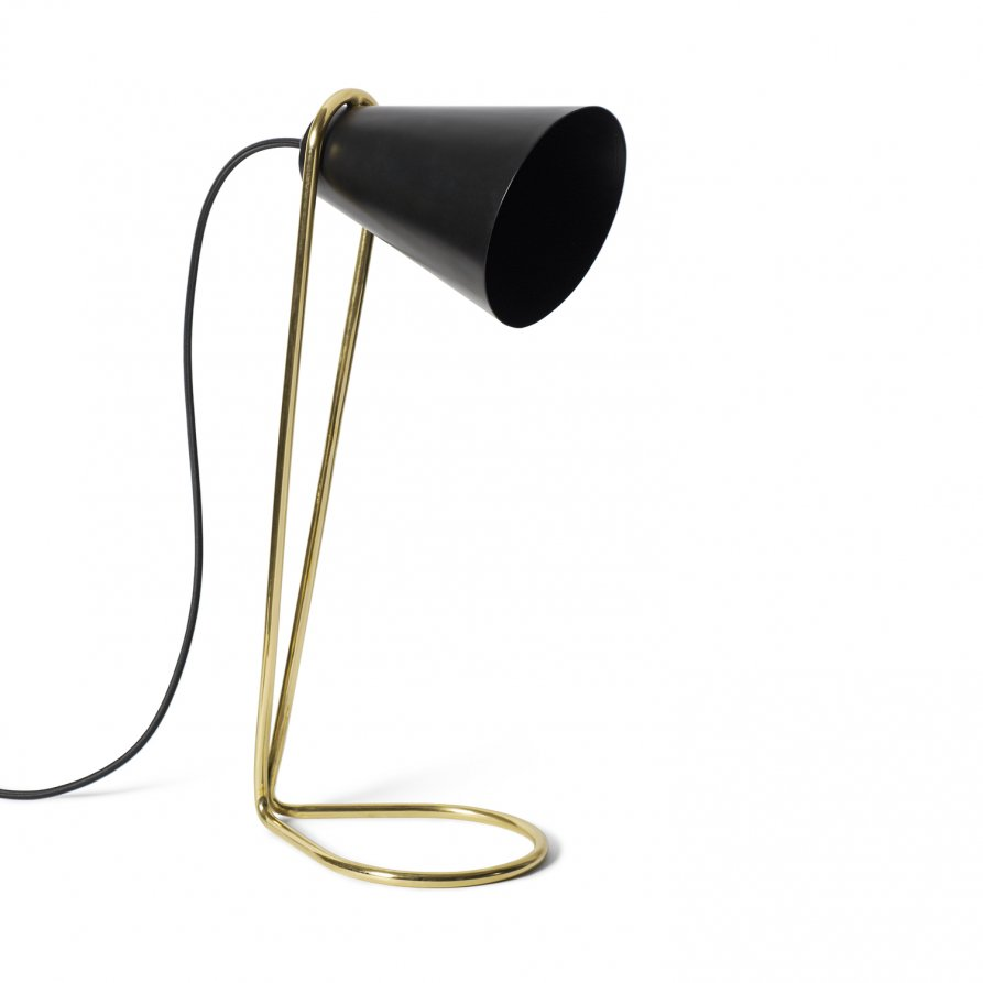 The 'Eileen' table lamp by Cindy-Lee Davies for Lightly. There is also a floor lamp version and the shade and base is offered in a variety of colours. Shown here in black and brass.