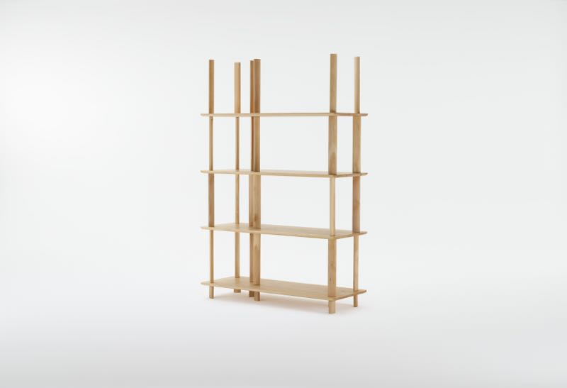 Simon Ancher's 'Pieman' shelving design for Dessein. Shown in celery-top pine.