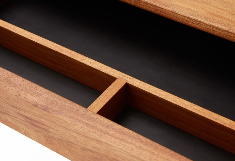 The drawer detail from Nathan Day's 'Pieman' desk. Solid Tasmanian blackwood with a contrasting black lining.
