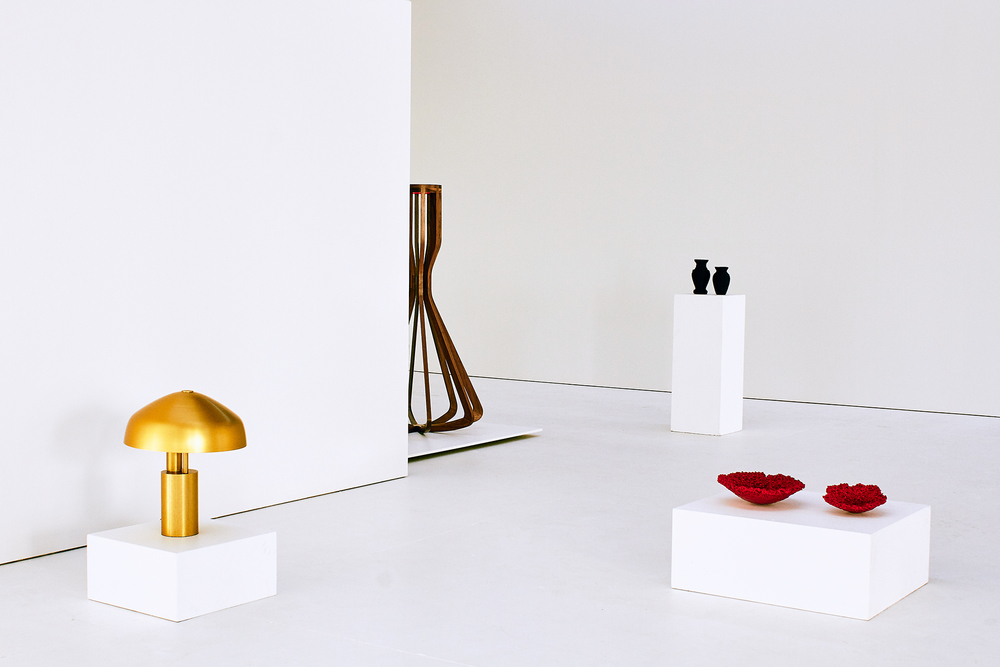 1-OK CLUB WORKS 1-43 (Lto R) Ross Gardam's 'Aura' table light, Jon Goulder's 'Artefact 1' sculptural object, Dale Hardiman and Andre Hnatojko 'Factory Works' and Andre Hnatojko's 'Canyon RGB' vessels. Photo: Elise Wilken, styling Natalie Turnbull.