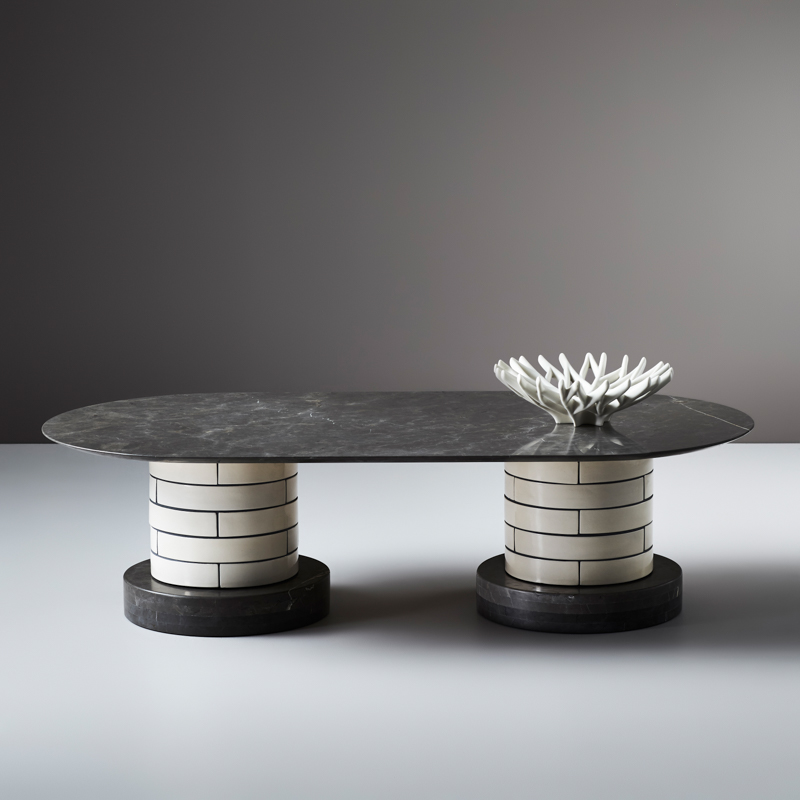 An example of the double pillared 'Metro' coffee table that combines curved porcelain tiles in a brick pattern style with a dark grey marble called Pietra Grigia. The bowl is called 'Fruit Tree' and is also by Porcelain Bear.