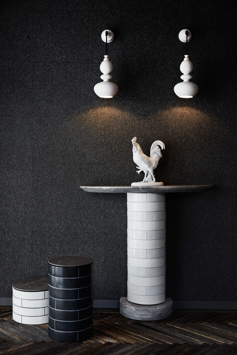 Examples of the new 'Metro' tables by Porcelain Bear with 'Nouveau' Wall Sconce lights.