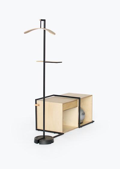 Yellow Diva's 'Hang' wardrobe / storage system. Sold through Zenith.