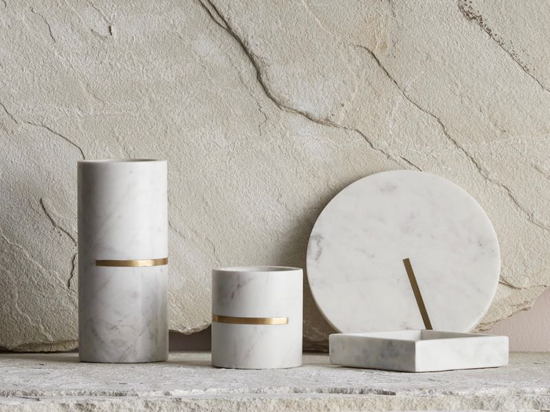 Marble and brass come together in Lightly's  Infinitude  collection of interior objects.
