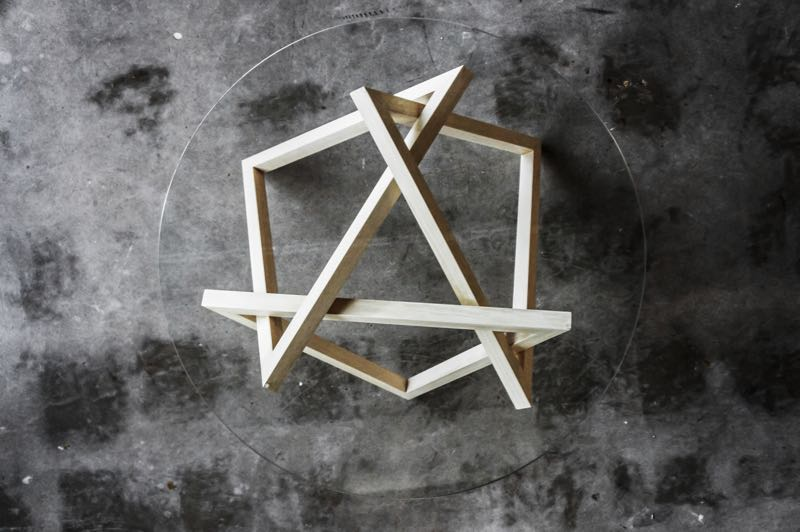 Mugavin's 'Tangle' table was designed during his first year at 'the Jam'. Three identical triangles are assembled like a puzzle.