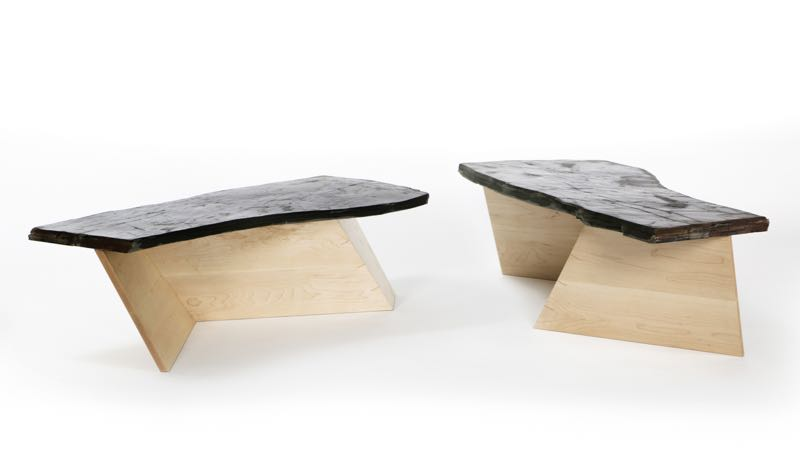 The 'Bangor' table has a rock maple base that yet again expresses Mugavin's interest in folded shapes but tops it with a rough slab of Willunga (South Australia) slate left in its natural shape with just a light application of tung oil.