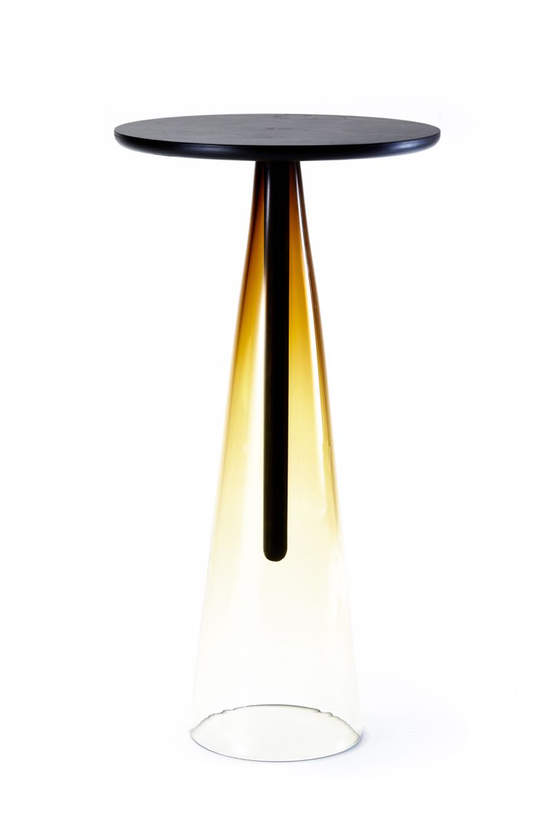The 'LL' table (Liam Mugavin & Liam Fleming) made from mouth blown glass and stained timber. Photograph by John Rintoul.