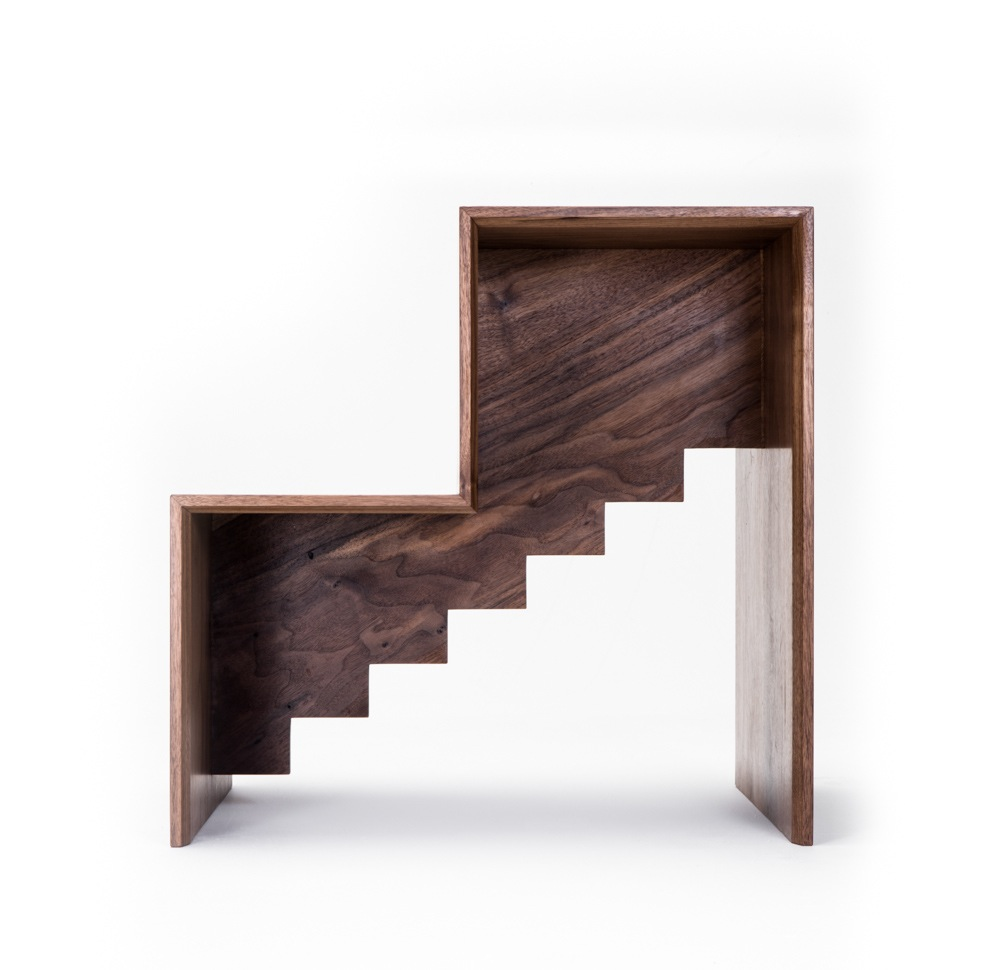 Liam Mugavin's 'Library Steps' in walnut and brass are part of Commissioned Editions, distributed by Criteria Collections.