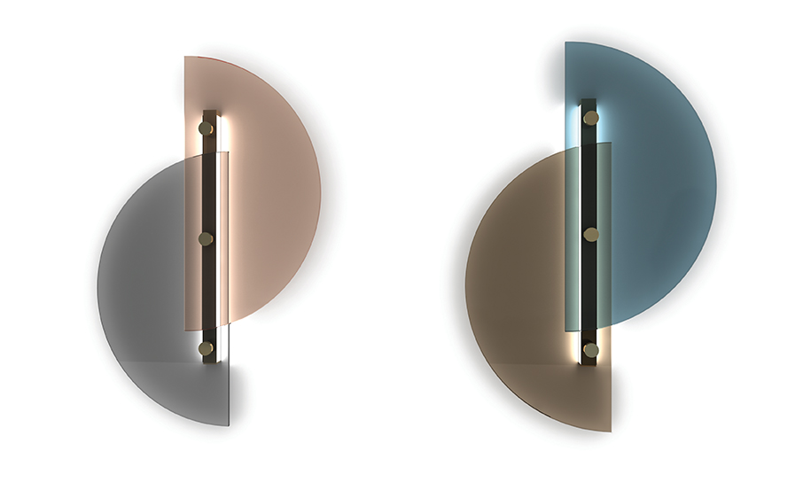 Arflex 'Papillon' wall lights in glass and brass by Bernhardt & Vella. It is offered is offered in pink and grey or smoke and blue.