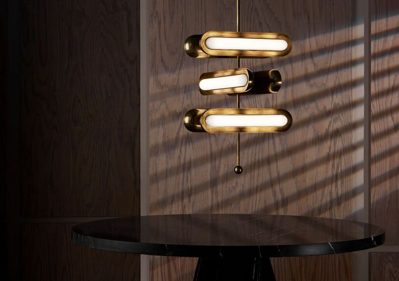The 'Circuit' pendant light by Apparatus uses modular elements to create a variety of forms.