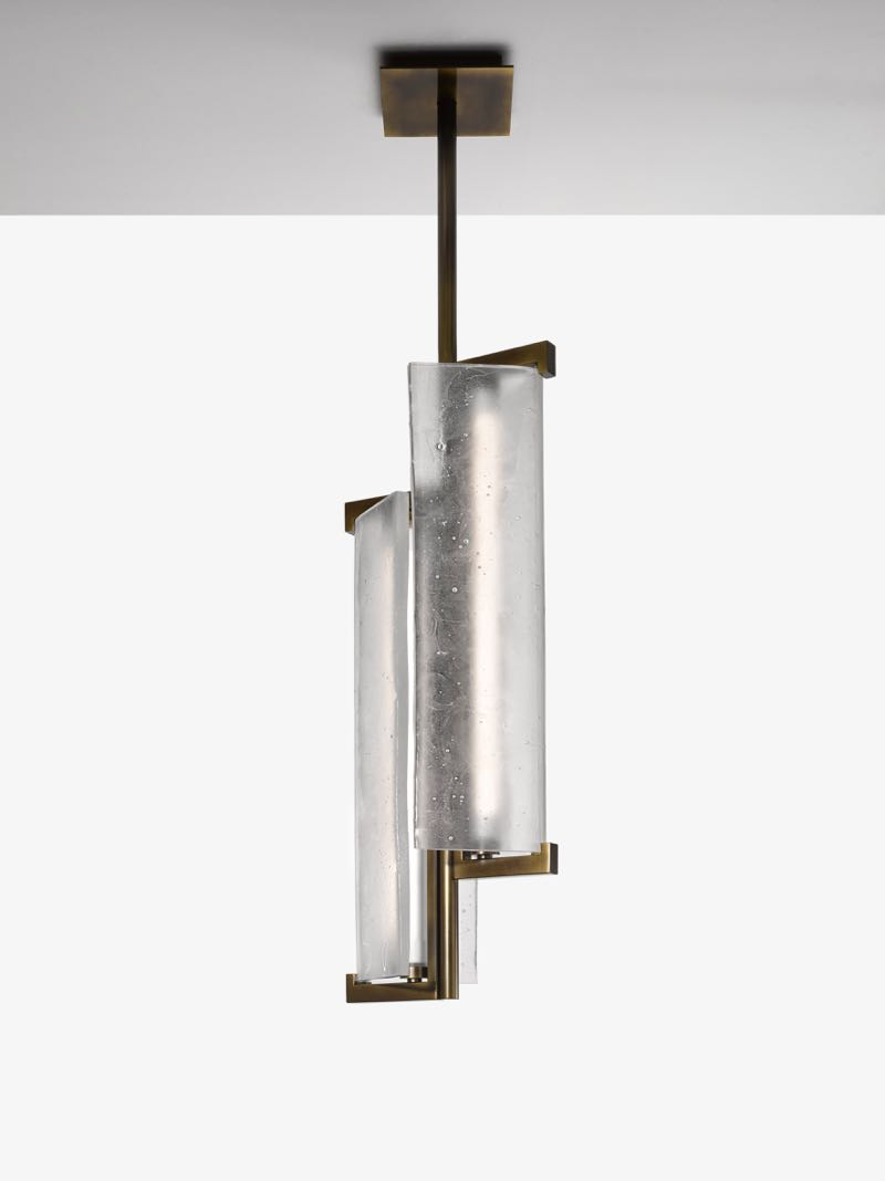 The Lasvit 'TAC TILE' pendant by Andre Fu Living for glass lighting specialist Lasvit, using slumped glass and aged brass.