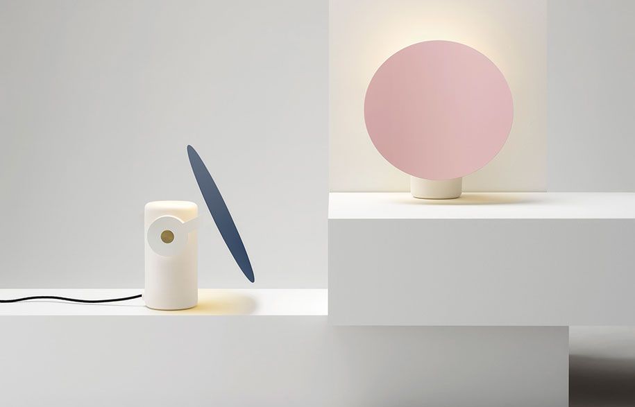 Australian designer Ross Gardam has created a table lamp that combines a matt ceramic base with a pivoting shade in metal. The 'Polar' light is offered with a brass or powder coated reflector.