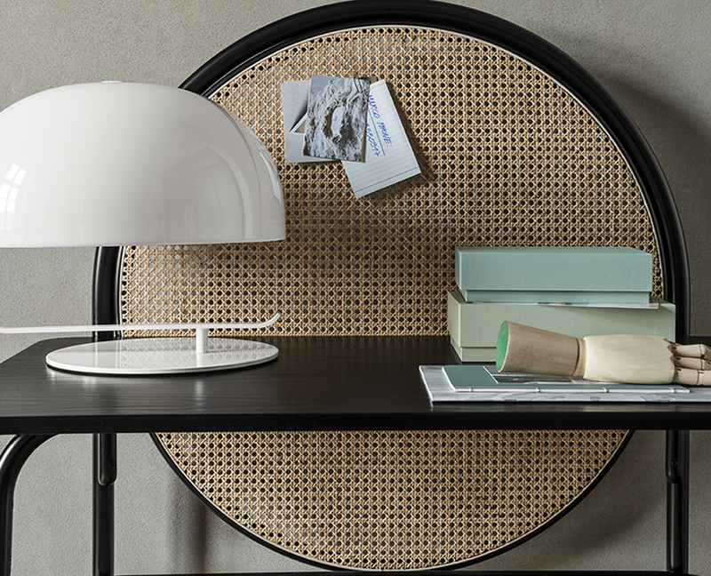 The 'Allegory' desk by GamFratesi for Gebruder Thonet Vienna (GTV) with its feature woven cane