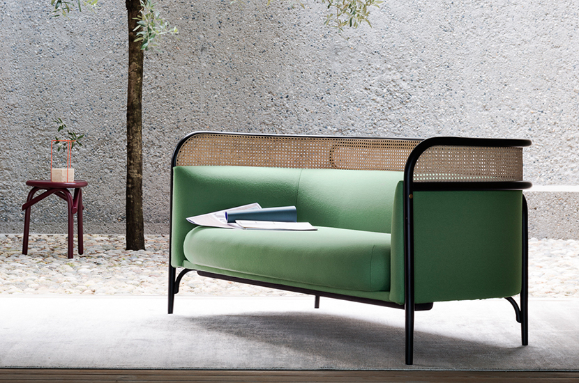The 'Targa' sofa by GamFratesi for Gebruder Thonet Vienna (GTV) with its fine cane panel.