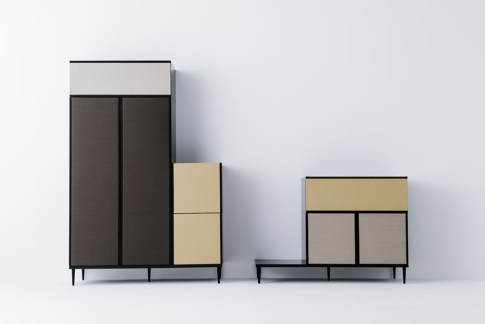 The storage components of the 'Moving Tatami' system by José Lévy uses subtle colour variations to emphasis the grid structure.