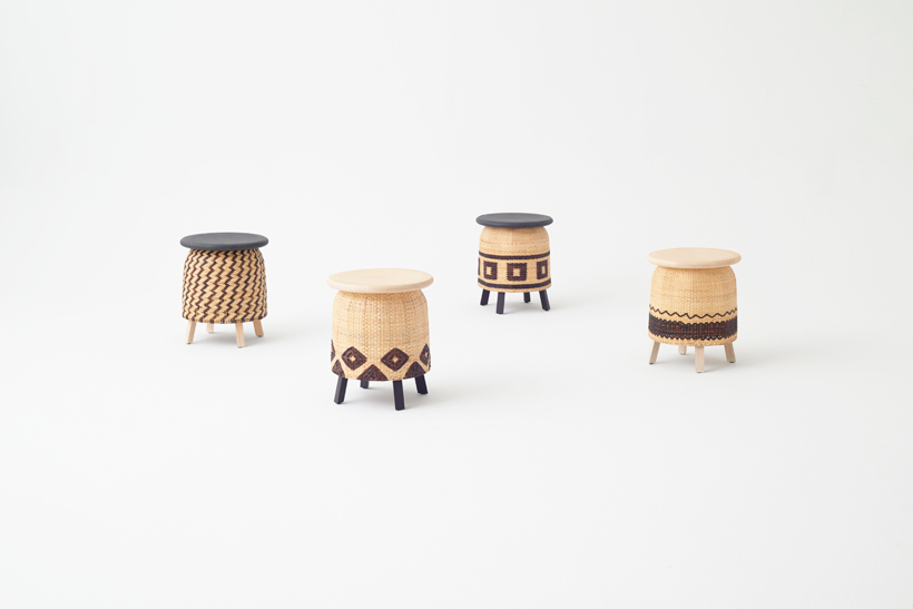 The stool line-up from the 'Tokyo Tribal' collection by Nendo for Industry+.  Photo:   Akihito   Y  oshida.