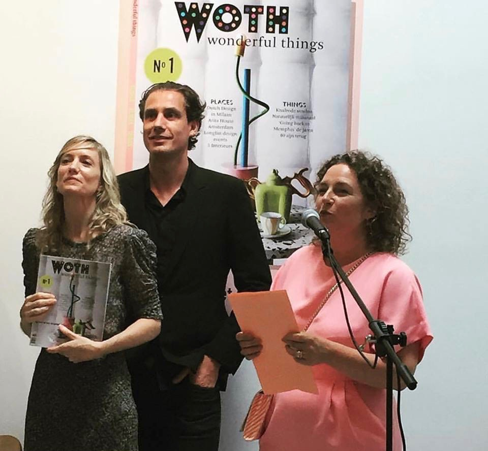 Carole Baijings, Stefan Scholten (of Scholten & Baijing's) & Mary Hessing, editor of WOTH Wonderful Things. Photo: Jan Willem Kaldenbach