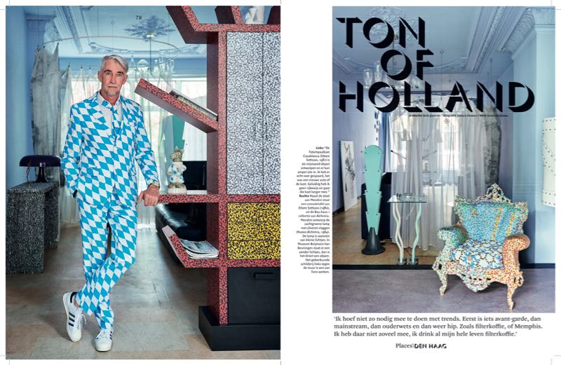 Ton of Holland founder Ton Hoogerwerf casually leaning on a Ettore Sottsass 'Casablanca' sideboard from 1981 (left) and another shot from his home featuring a version of Mendini's 'Proust' armchair  (right).