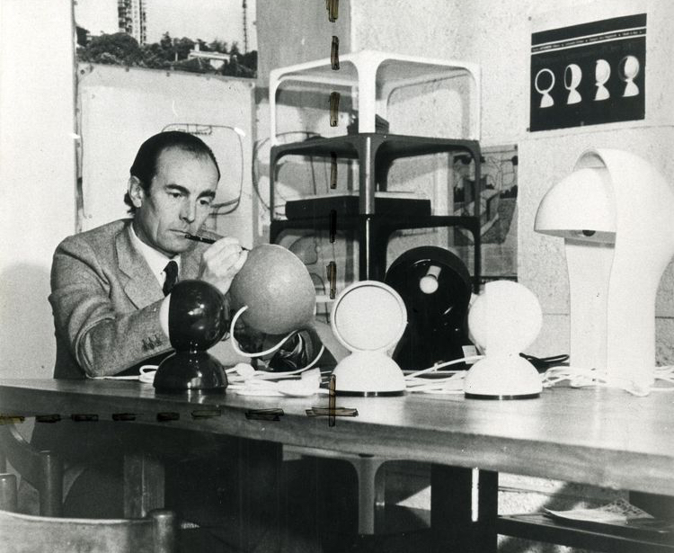 Magistretti pictured with some of his early lighting designs: 'Eclisse' 1966, 'Dalu' 1969 and 'Telegono' 1968 - all for Artemide.