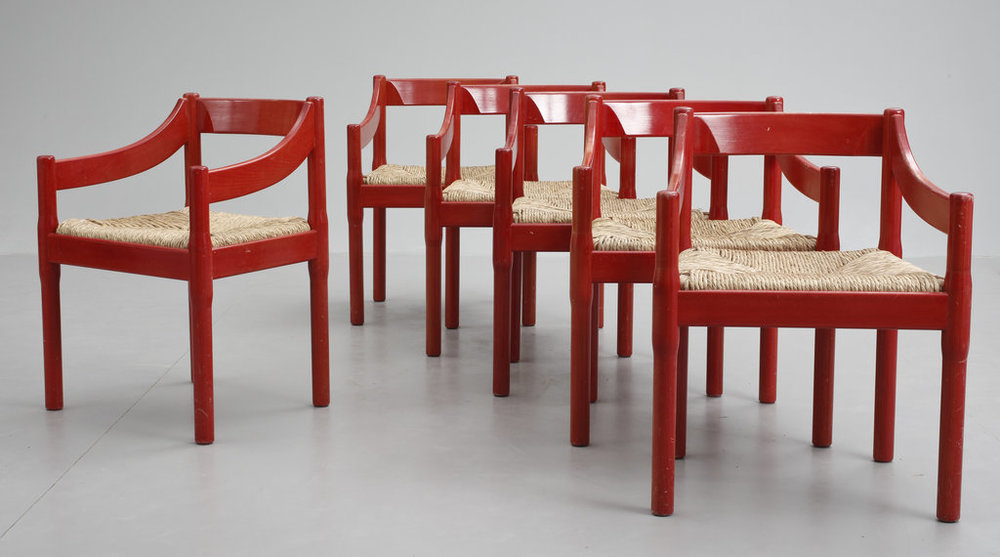 Vico Magistrati 'Carimate' chairs designed in 1959 were produced by Cassina from 1962.