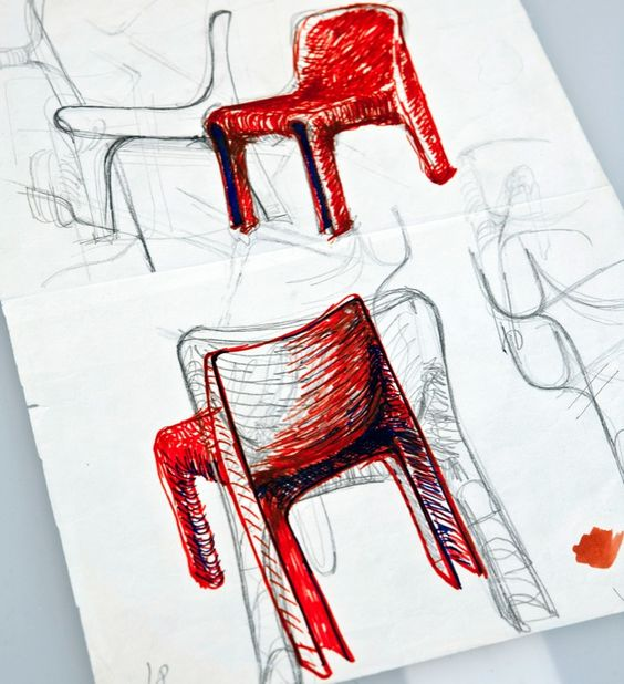 A sketch of Magistretti's 'Selene' chair.