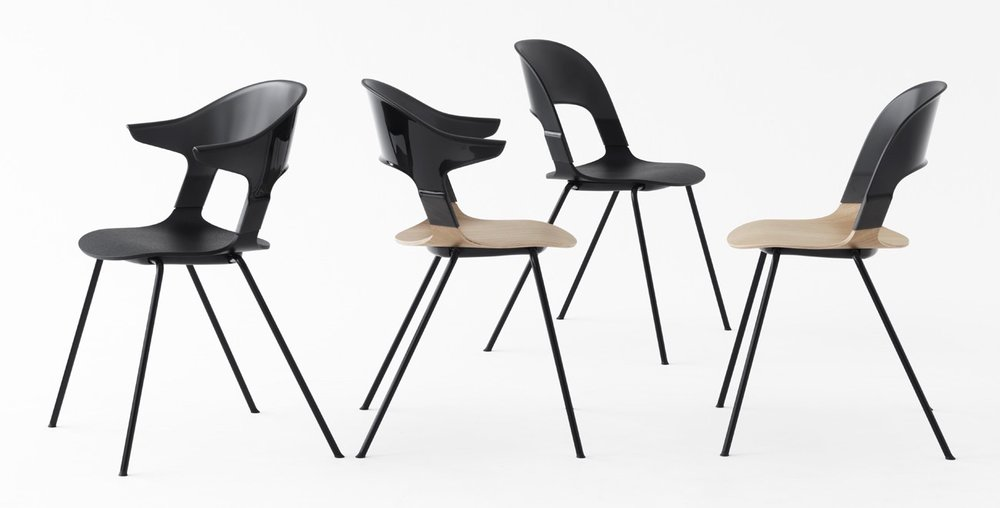 The Pair™ stacking chair by Layer for Fritz Hansen - showing several variants.
