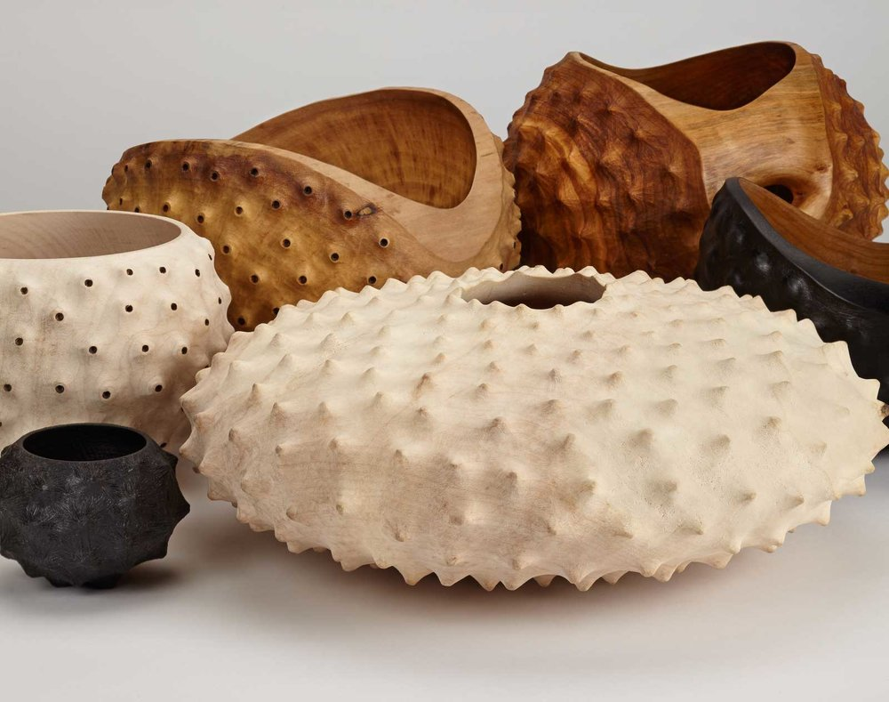 Eleanor Lakelin's extraordinary vessels in timber resemble the exoskeletons of sea creatures or unearthly seed pods. Photography by Stephen Brayne and Jeremy Johns.