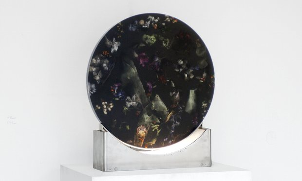 Marcin Rusak's latest piece from the  Flora  series of objects - a table lamp with his signature petal impregnated resin material.