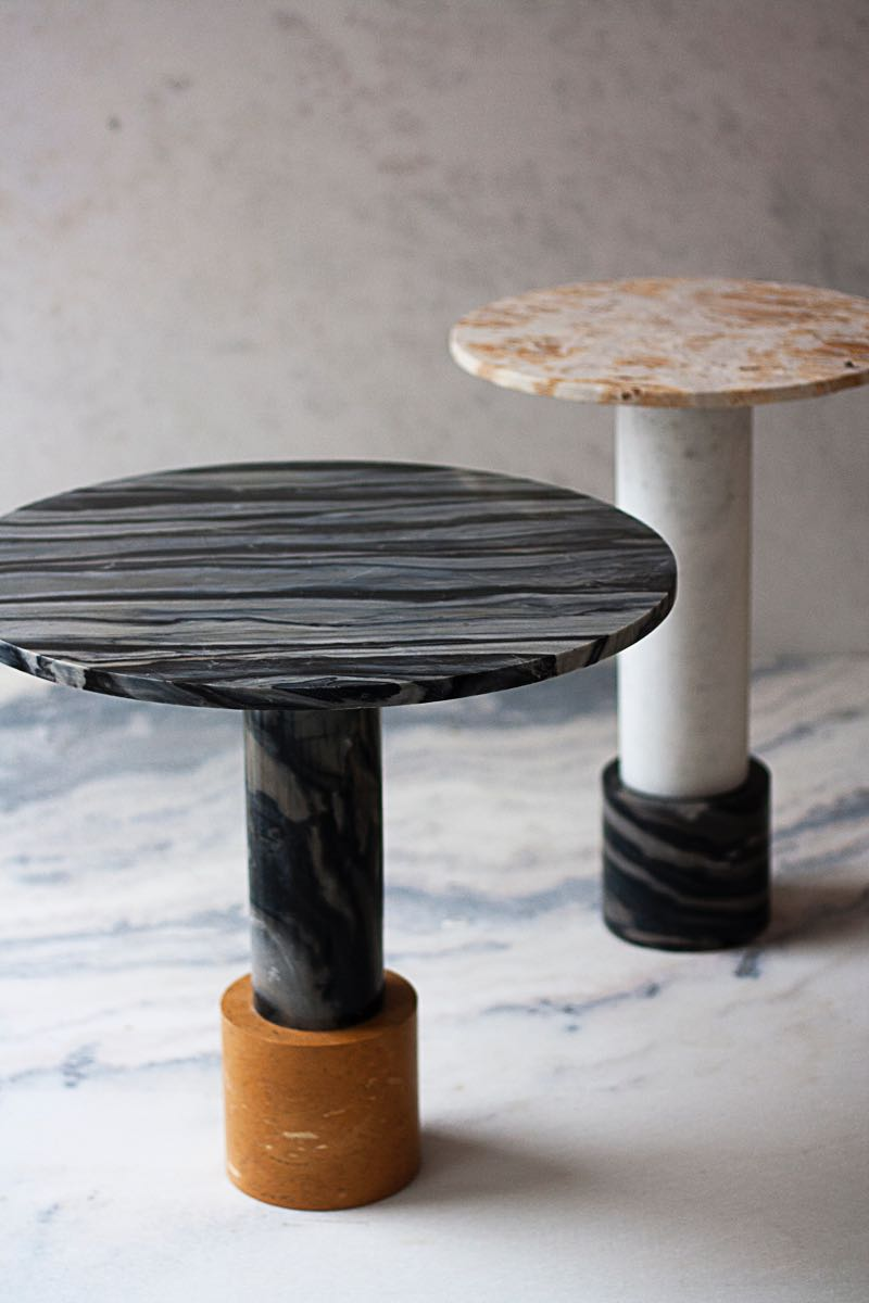 Raw Material side tables 'Strata' (foreground) and Terra (rear).