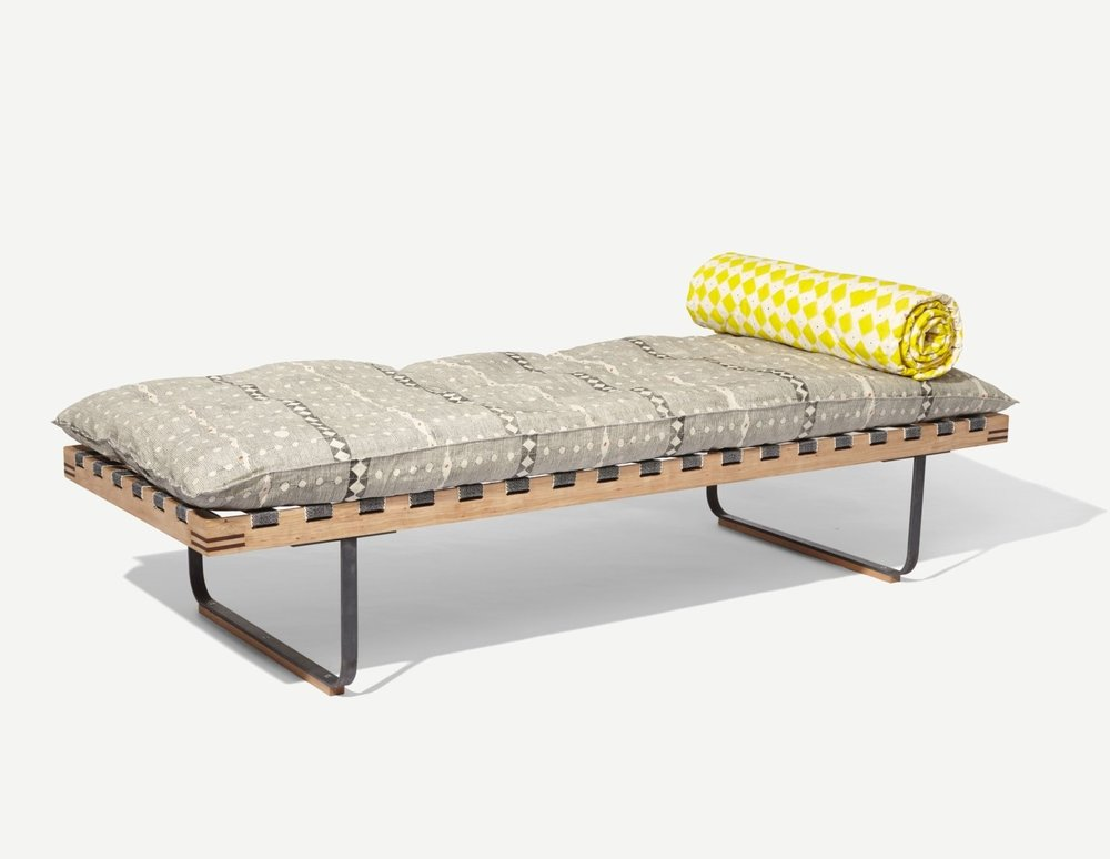 The 'Cherry daybed' by William Waterhouse with hand blocked fabric by Louisa Loakes.