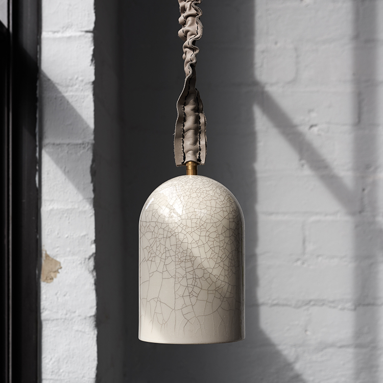 Porcelain Bear's 'Cloche' pendant in a crackle glaze finish. Photograph by Sharyn Cairns.