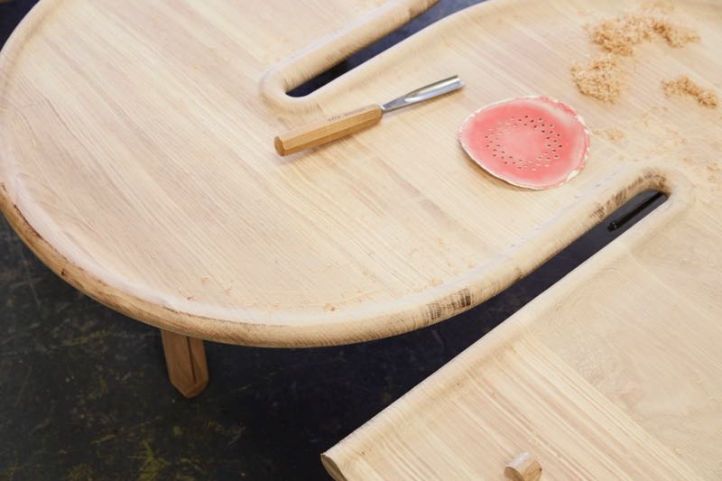 The 'Plane' table in progress. Created for David Clark's AT HOME exhibition at Old Government House, the table explores