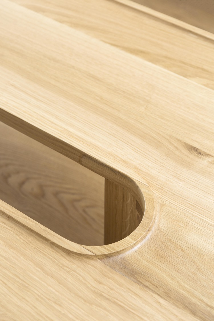 A detail of the 'U' coffee table showing Ganim's love of strong elliptical shapes and tight curves.