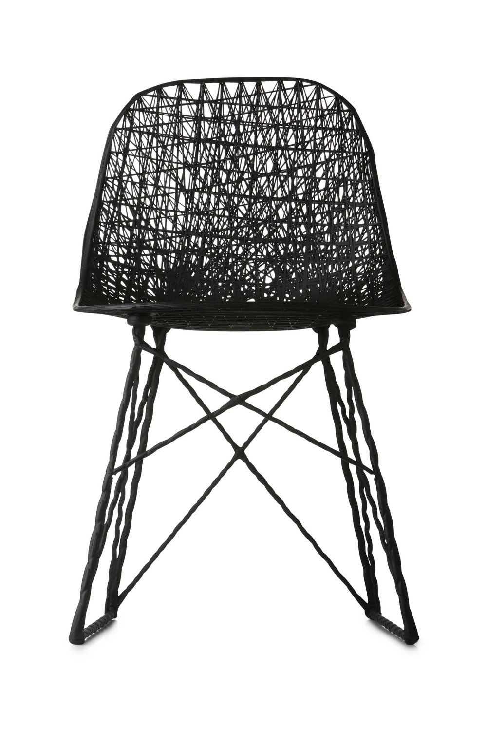 Bertjan Pot's 'Carbon' chair from 2004 was commissioned by Moooi after Pot's highly successful 'Random' light (released in 2002) which used a form of a resin impreganted thread. The chair is 99% carbon fibre with just four metal threaded inserts for fixing the base to the seat.