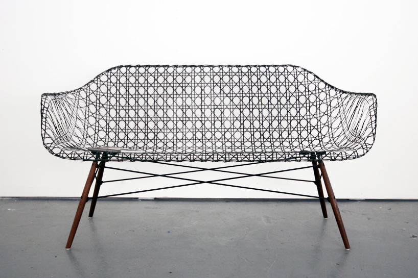 Matthew Strong's 'Carbon Fibre Eames Sofa' (2014) takes the Eames experiments in aeronautical materials one step further.