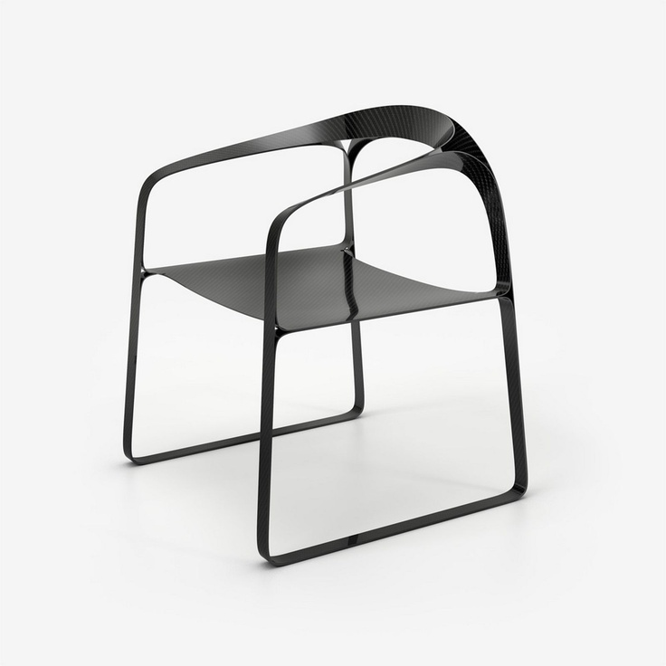 The 'Plooop' chair by Timothy Schreiber from 2011 isn't a full carbon fibre chair but uses the material to strength thin sheets of plywood. The end result is made up of 5mm thick ribbons of the composite plywood and carbon fibre and weighs just 2 .5 kg.