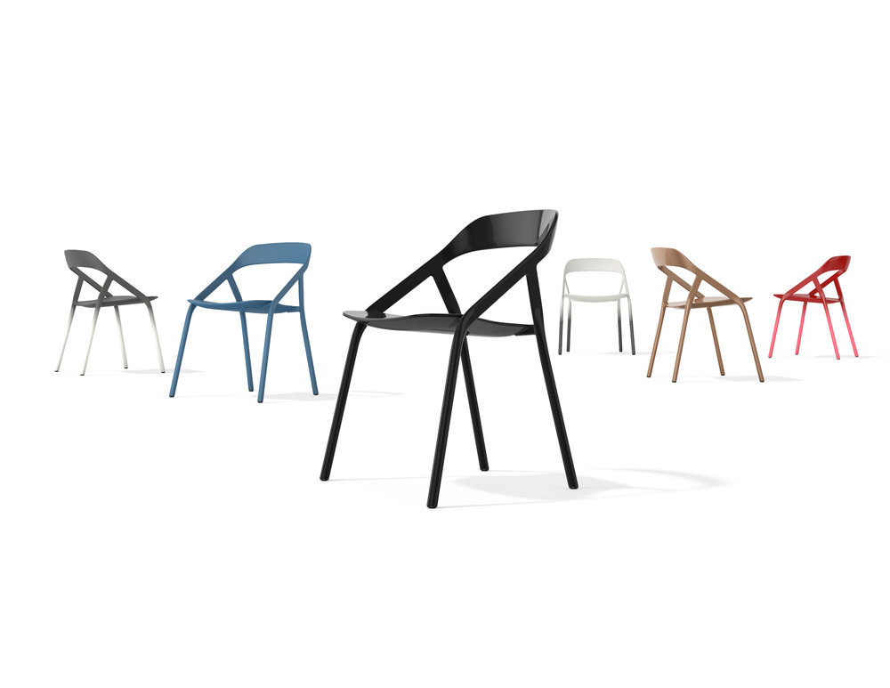 Michael Young's 'LessThanFive' chair for Coalesse, 2014. Available in several colours the name refers to t he weight - less than 5lbs, or 2.3kgs.