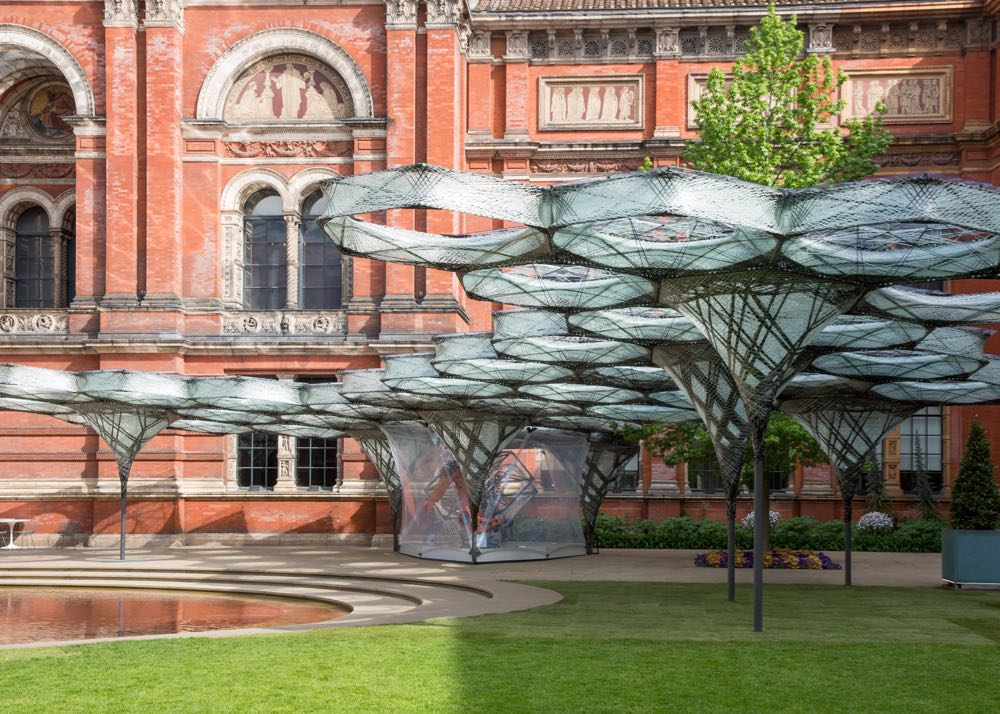 Elytra Filament Pavilion installed in the grounds of the Victoria & Albert Museum during   London Design   Festival 2016.